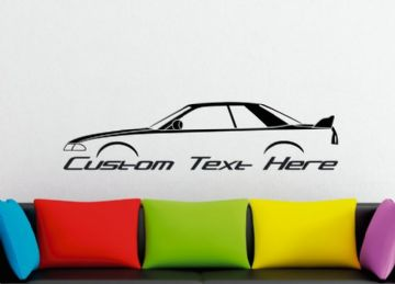 Large Custom car silhouette wall sticker - for Nissan Skyline R32 GTR classic | JDM